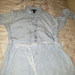 Forever 21 Light Washed Denim Button Up Dress